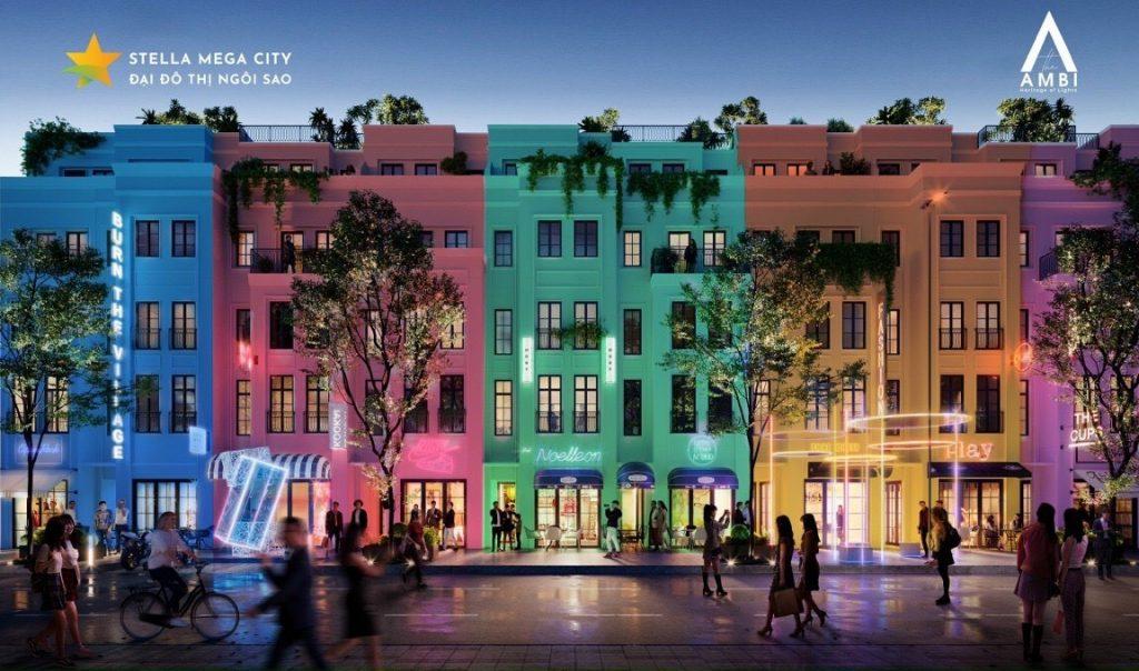 Stella Mega City Shophouse trên trục đường phố Đêm