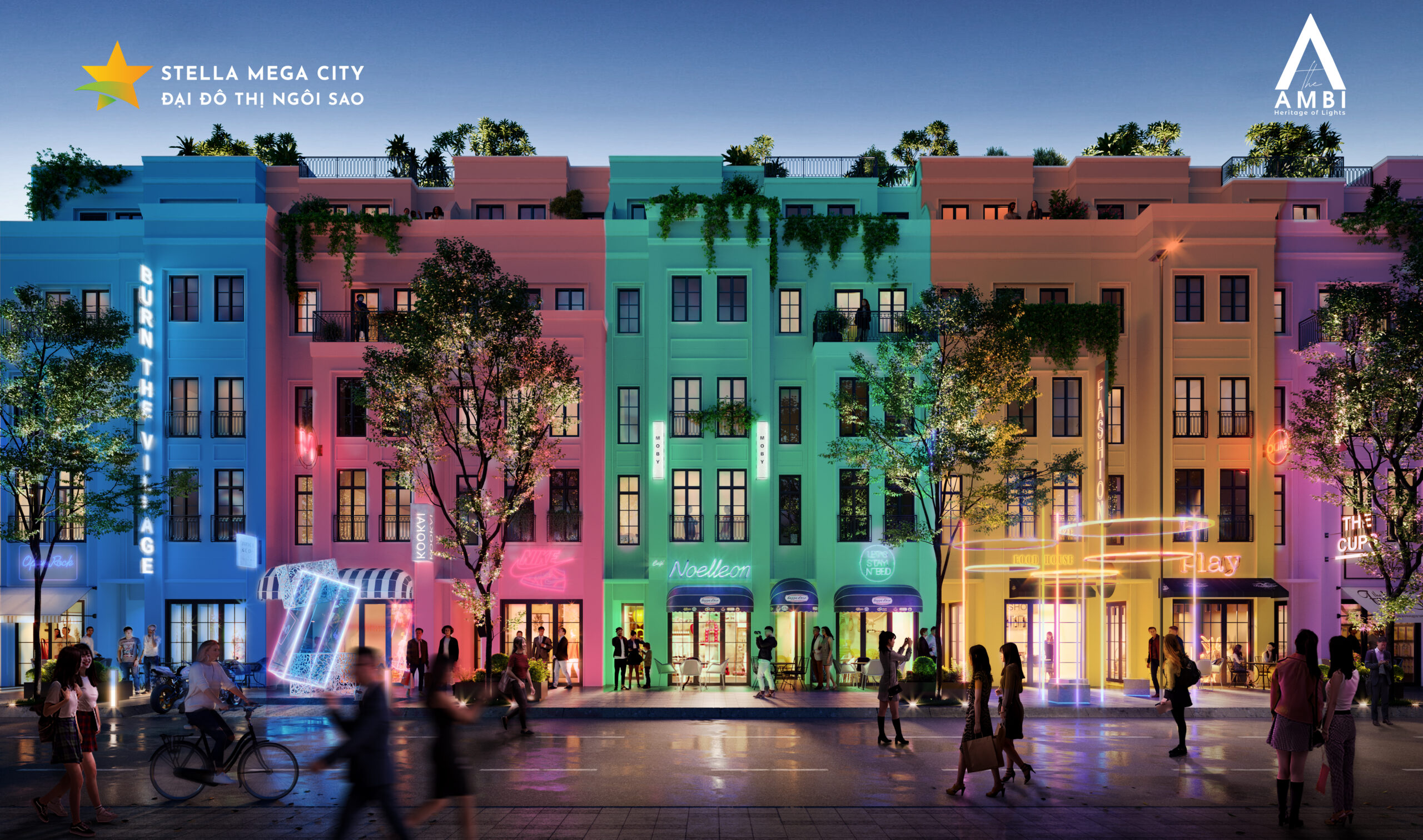 Thiết kế shophouse phố đi bộ Stella Mega City